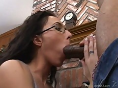 Dark dick lover Katrina Isis gags on a huge fuck stick