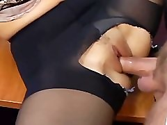 Office sex with a busty secretary in sexy hosiery
