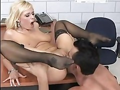 Busty pale blonde in stockings gets her pussy licked in pris...