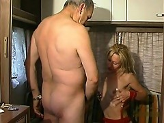 Blond whore gives an old man dirty sex