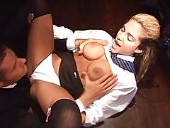 College girl whore with big tits gets hard cock up her ass