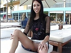 Suri cute brunette girl public flashing pussy