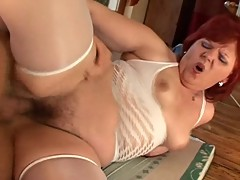 Hairy Red Head Mom Shows Her Boy Toy A Good Time