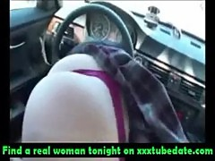 Hot red head car fucking