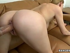 Blonde gets drilled doggy style and licks his nuts