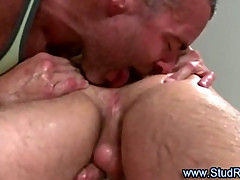 Gay mature masseur rims straight clients ass
