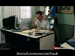 Slutty bigboob brunette secretary convinces her boss to cheat