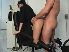 office fuck and blowjob by a girl in boots