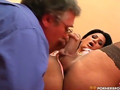 Shemale Allasandra banged by old man