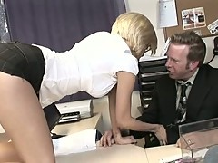 Gorgeous Jenny Hendrix is an office whore that takes her bosses throbbing cock