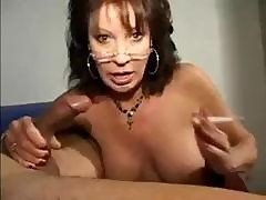 Nerdy Brunette Milf Vanessa Videl Smokes Her Cigarette And Puffs His Cock