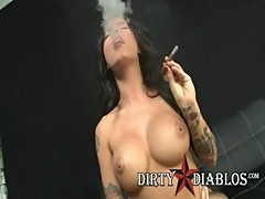 Pornstar Christy Mack Rides Big Cock While Smoking Cigar