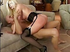 busty blonde in black garter belt and stockings rides stiff ...