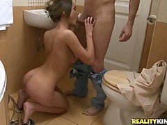 Cock sucking Alice Miller on the bathroom floor enjoying throat fucking