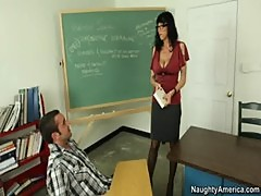 Busty Brunette teacher Fucks Student On Desk and Orgasms Loudly