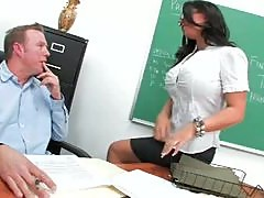 Insanely Busty Librarian Kerry Louise Gags On A Teachers Big Cock