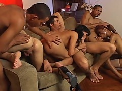 Hot group orgy with three shemales