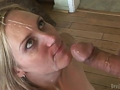 Roasting shemale gets splattered in thick dick paste