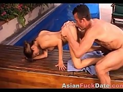 Huge cock inside tiny Asian pussy