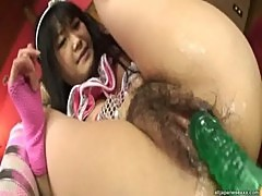 Hello Mikity Japanese doll pokes her hairy pussy with a huge dildo