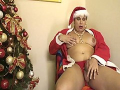 Busty shemale gangbanged in christmas