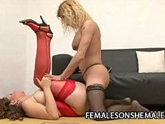 Horny shemale punishing a wet pussy in hot red stockings