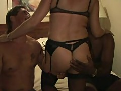 Mature Housewife creampied by 2 BBC and Husband