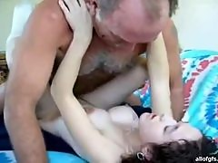 Teen Brunette Rides AN Old Mans Hard Cock