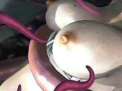 Sexy 3D hentai brutally poked all hole by tentacles